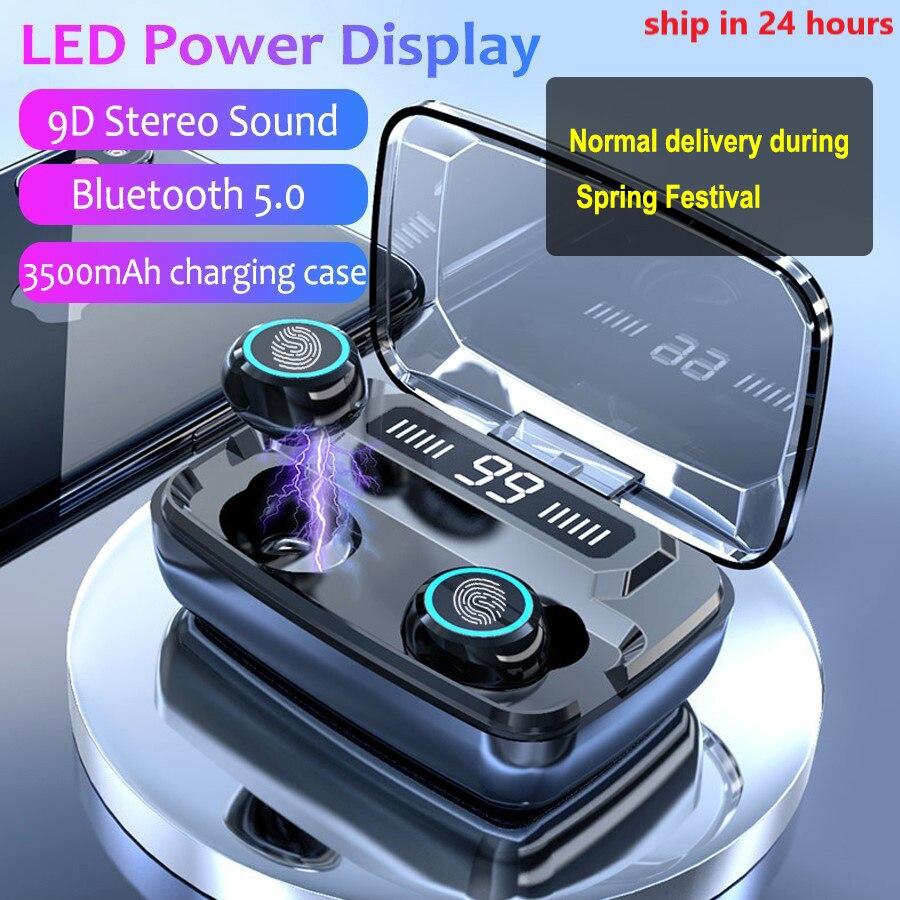 3500 мАч светодиодный Bluetooth беспроводные наушники, стерео наушники-вкладыши TWS с сенсорным управлением спортивные гарнитуры подавления шумов...