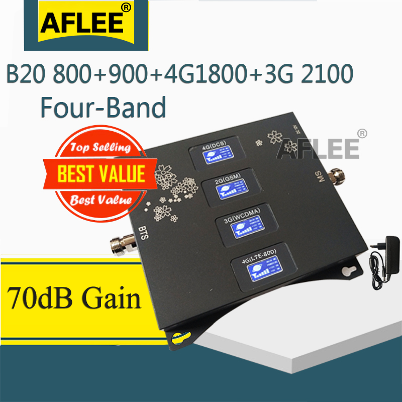 Four-Band B20 800 900 1800 2100mhz Mobile Signal Booster 4G Cellular Amplifier 2G 3G 4G GSM Signa Repeater GSM DCS WCDMA LTE