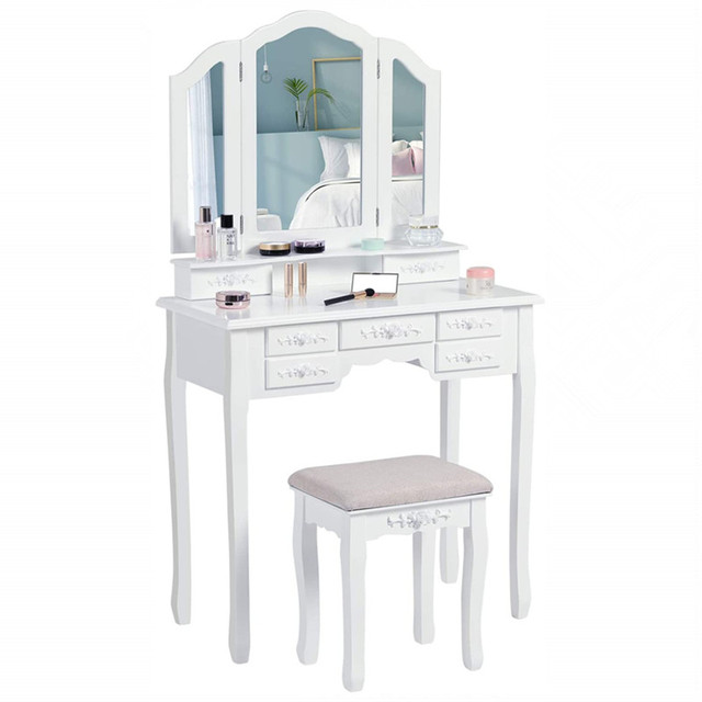 Modern Makeup Vanity Dressing Table w/ Tri-Folding Necklace Hooked Mirror & 7 Drawers for Storage Vanity Desk Cushioned Stool 3
