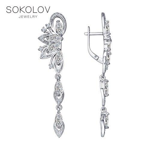 SOKOLOV drop earrings with stones long silver with cubic zirconia fashion jewelry 925 women's male  long earrings|Earrings| |  - title=