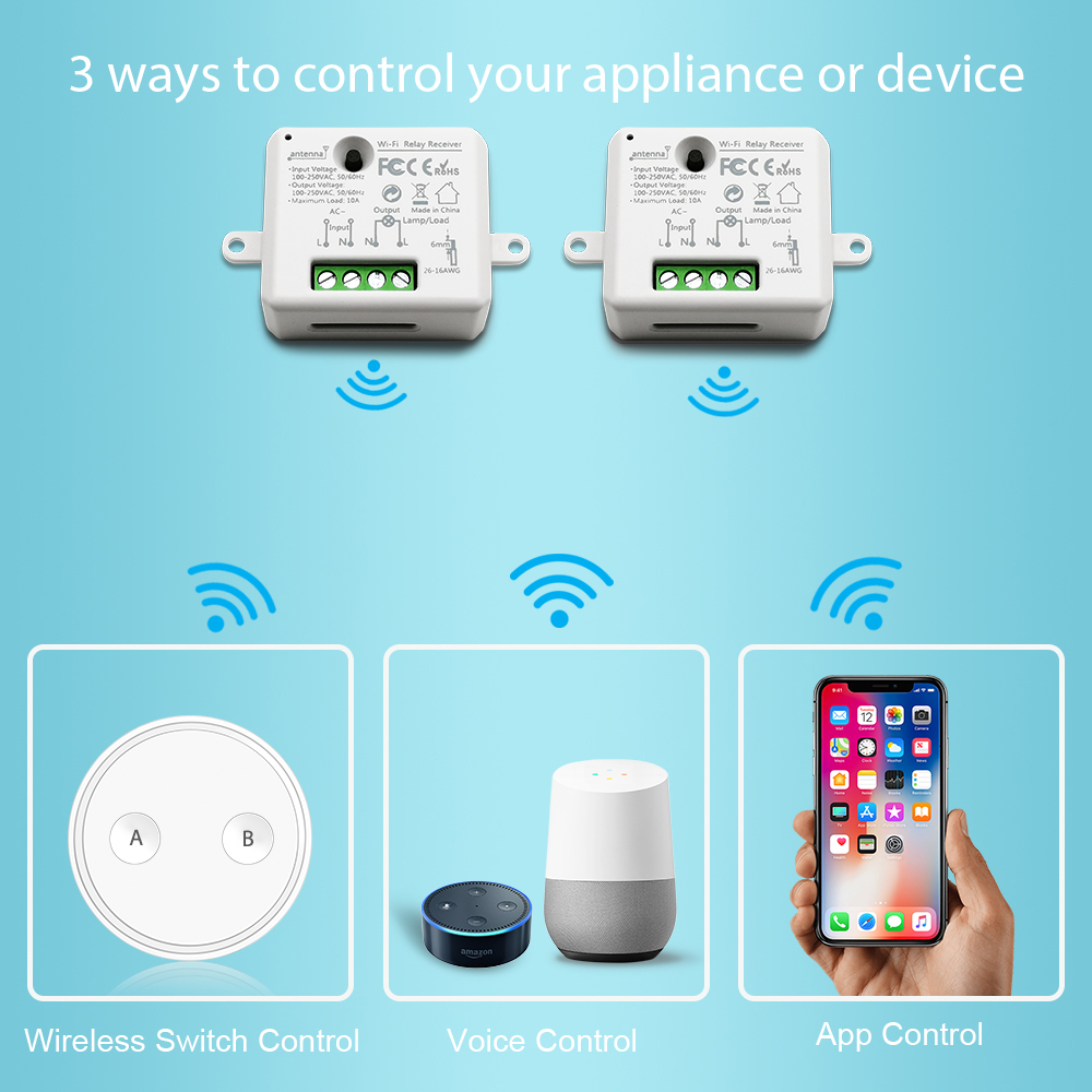Image 2 - Tuya WiFi Switch Socket Relay Micromodul 10A with Remote Control Voice Control Google Home Alexa Echo Smart Life App Timer-in Switches from Lights & Lighting
