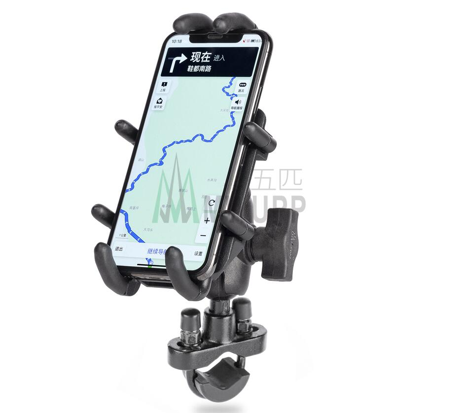 Aluminum Motorcycle Handlebar / Car Suction Cup Mount + 9CM Socket Arm w/ Quick Grip Phone Holder for Smartphones for RAM Mounts