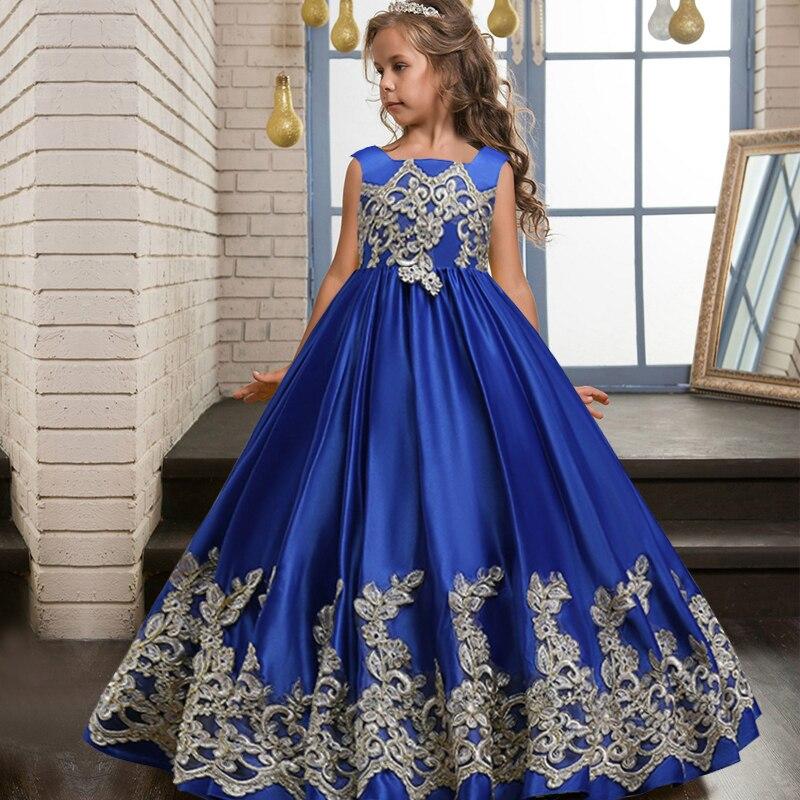 2021 Teenage Bridesmaid Flower Girls Princess Wedding Kids Dresses For Girls Evening Party Dress Children Evening Dress 8 10 12Y