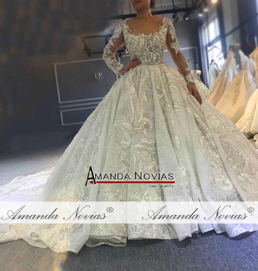 2019 מדהים מלא ואגלי חתונת שמלת כלה שמלת יוקרה ארוך רכבת שמלת כלה