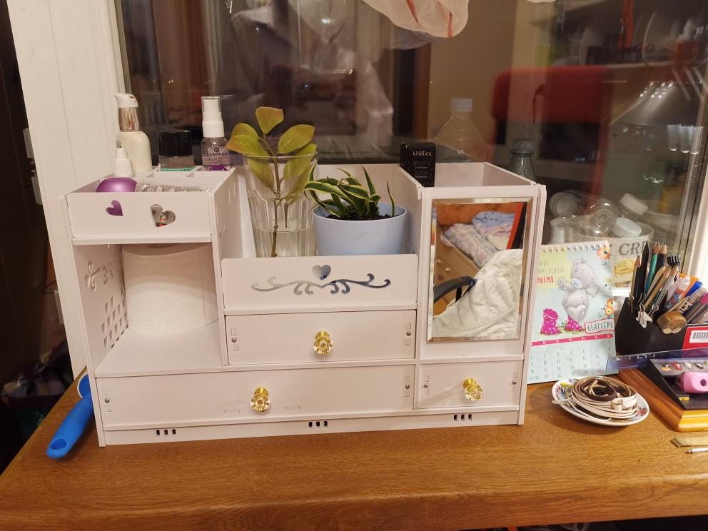 Cestos e caixas de armazenamento Cosméticos Desktop Espelho