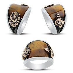 925 sterling Silber die Ottomane Zustand Crested Tiger Auge Stein Ring