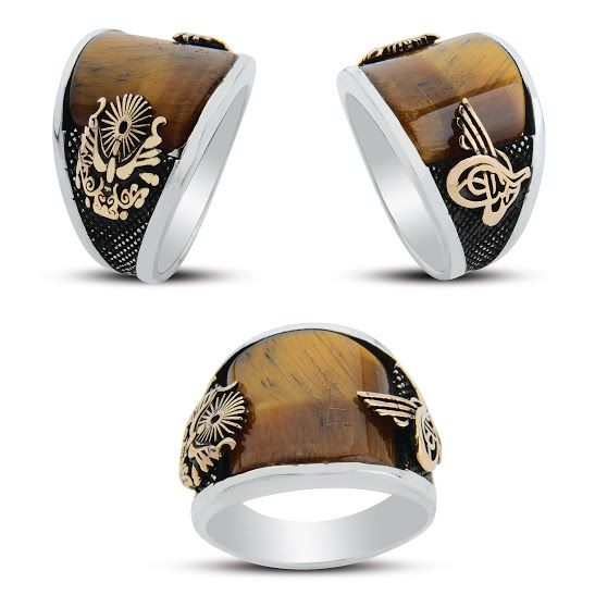 925 sterling Silver the Ottoman State Crested Tiger Eye Stone Ring()