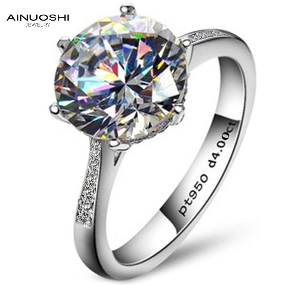 AINOUSHI Luxury 4 Carat NSCD Solitaire Ring Damer Äkta 925 Sterling Silver Ring Engagement Sona Female Wedding Finger Rings