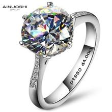 цена на Luxury 4 Carat NSCD Synthetic Simulated Diamond Solitaire Ring Women 925 Sterling Silver Engagement Sona Diamond Wedding Ring