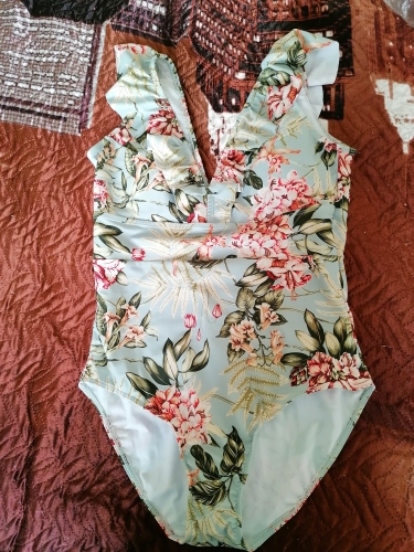 PLAVKY 2021 Sexy Female Retro V Neck Blue Striped Swimsuit One Piece Ruffled Push Up Padded High Waist Swimwear Women Monokini|Body Suits|   - AliExpress