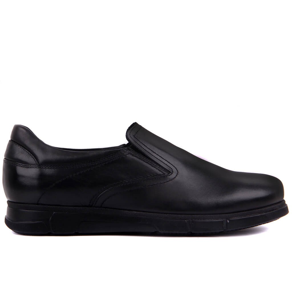 Sail-Lakers Black Leather Step-in Men Casual Shoes
