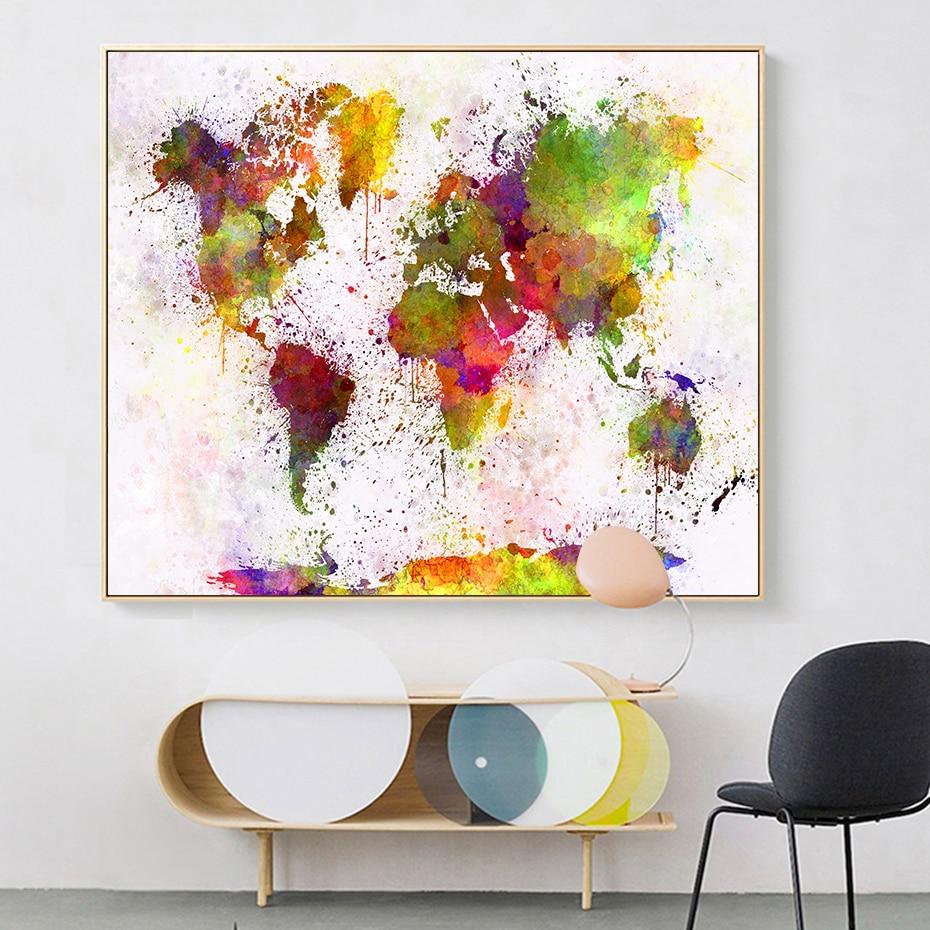 NCKLY Peinture sur Toile Aquarelle Carte du Monde Modulaire Affiche De Peinture Et Photo dart De Mur De Toile pour Le Salon,40X80Cmx3 sans Cadre,Pt1766