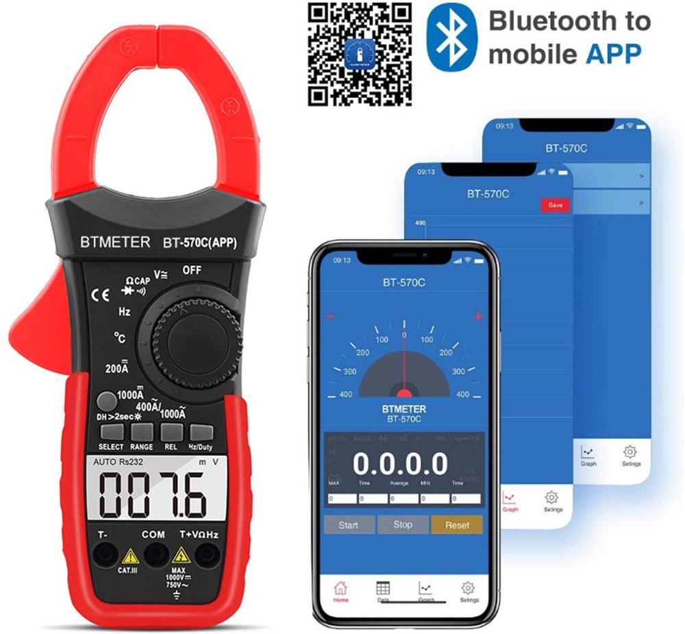 BTMETER Digital Clamp Multimeter,Auto-Ranging Bluetooth Amp Meter,Resistance,Temperature,Data Hold for Electrical HVAC Ammeter