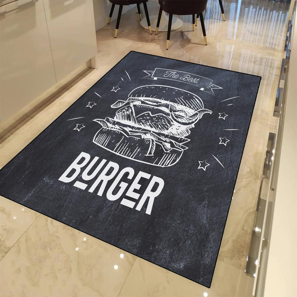 Else Black White Blackboard On Draw Hamburger 3d Print Non Slip Microfiber Kitchen Modern Decorative Washable Area Rug Mat