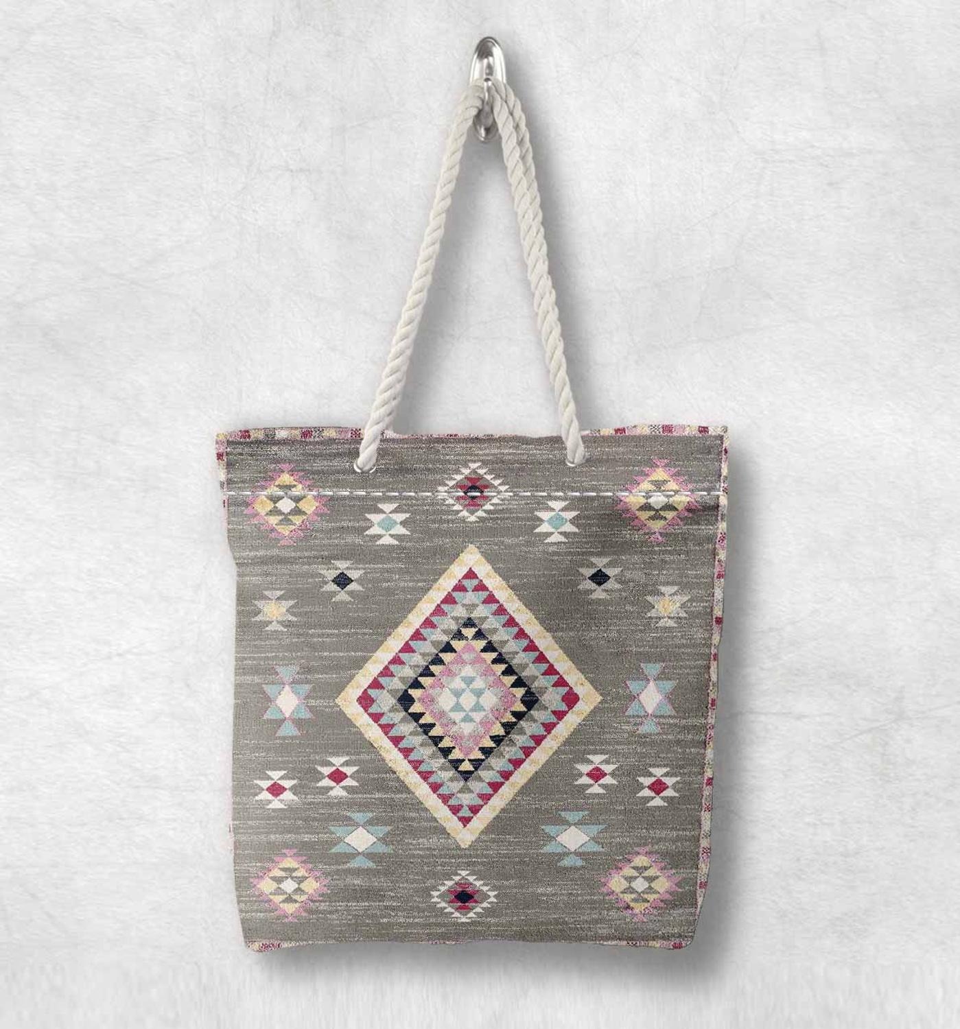 Else Gray Pink Tiles Turkish Kilim Design New Fashion White Rope Handle Canvas Bag Cotton Canvas Zippered Tote Bag Shoulder Bag