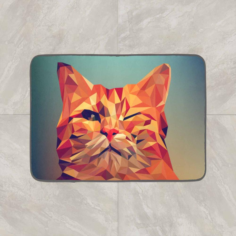 Else Brown Cat 3d Pattern Print Anti Slip Decorative Floor Door Mat Home Entryway Livingroom