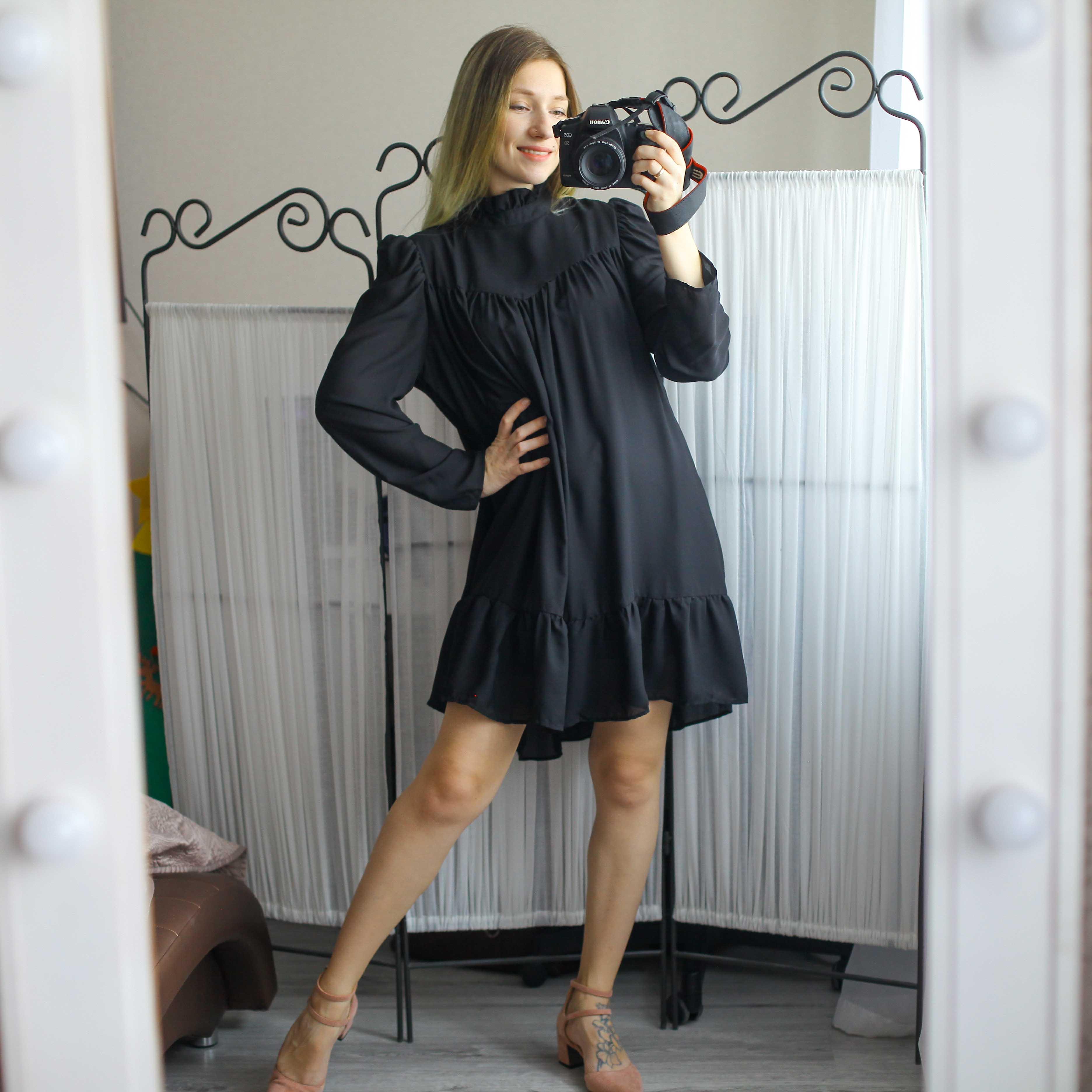 Hot 2019 autumn new fashion women's temperament commuter puff sleeve small high collar natural A word knee Chiffon dress reviews №3 342848