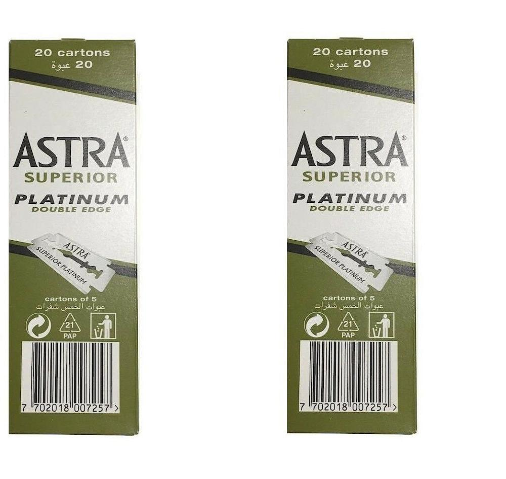 200 Piece 200 Pcs Astra Superior Platinum Double Edge Safety Razor Blades Shaving Razor Blade 2 X 100