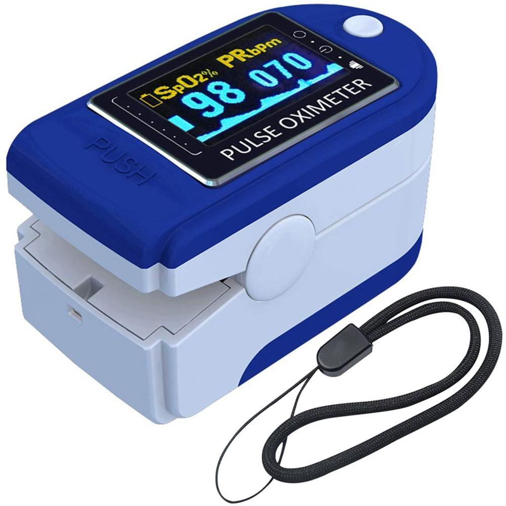 Пульсоксиметр на палец с ремешком, светодиодный цифровой измеритель пульса и уровня кислорода в крови, с ремешком