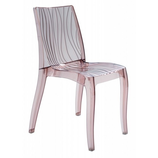 Chair CORINA DU, Clear Polycarbonate Light Brown