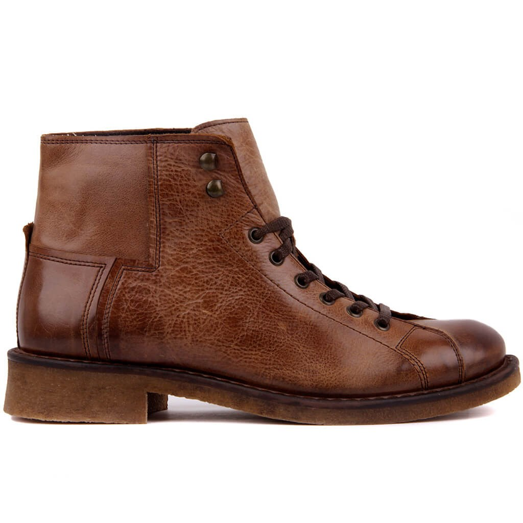 Sail Lakers-Tan Leather Lace-Up Men Boots