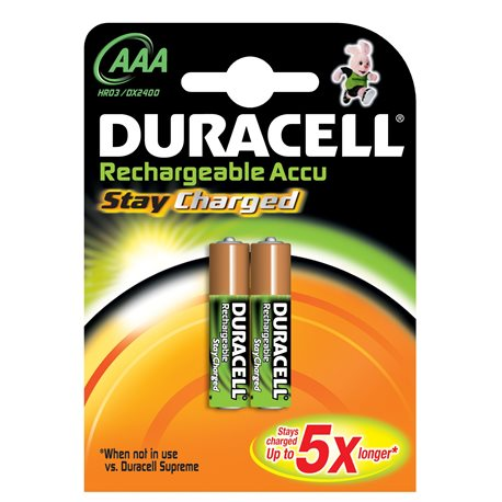 RECHARGEABLE Battery LR03 AAA 1,5V DURACELL 2 PZ