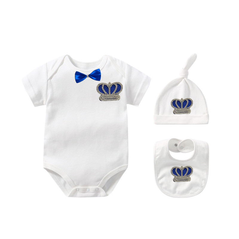MIYOCAR 0-6m Baby Blue Bling Crown Rhinestone Summer Clothes Set One Piece Bodysuit Set Baby Shower Gift SS6-Cs