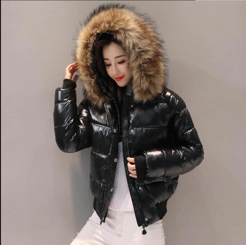 Dugujunyi 2019New Black Fashion glossy Winter Women's Jacket Waterproof Parkas Female Warm Winter Coat Hooded Women Outerwear