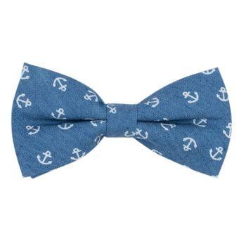 Men's bow tie (cotton, blue) 52904