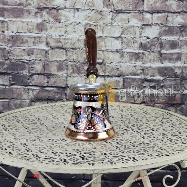 Fancy Ibrik Turkish Copper Coffee Pot Wood Handle  4