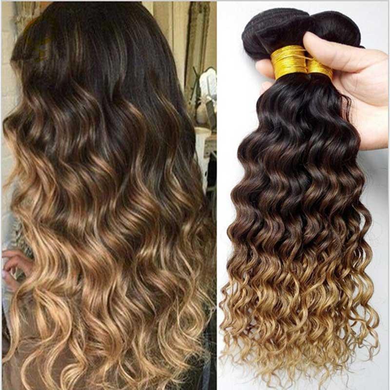 Ombre Deep Wave Brazilian Hair Weave Bundles T1B/4/27 Human Hair Three Tone Ombre Hair 3 /4 Bundles Remy Hair Beauty Lueen
