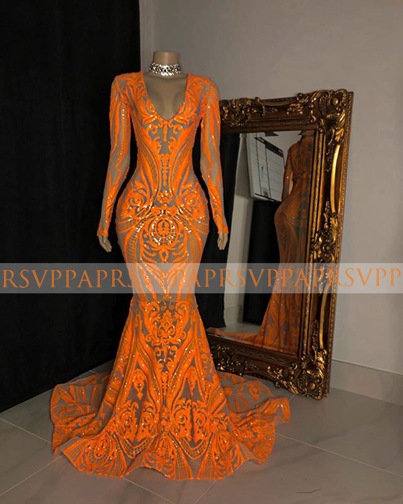 Long Elegant Prom Dresses 2020 V-neck Long Sleeve Sexy Mermaid Black Girl African Women Orange Sequin Prom Dress