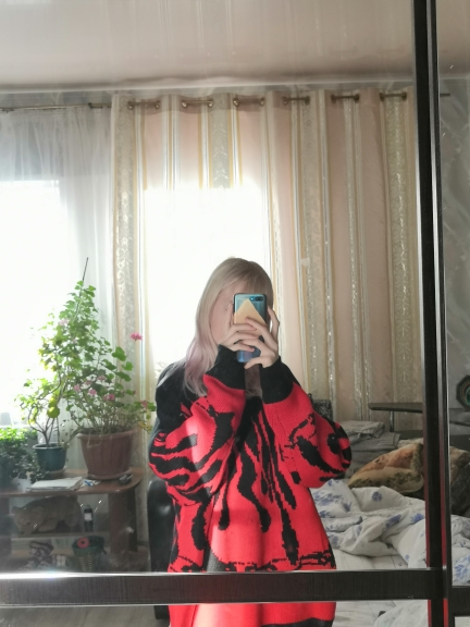 Flame Knitting Batwing Sleeve Sweater E-girl Punk photo review