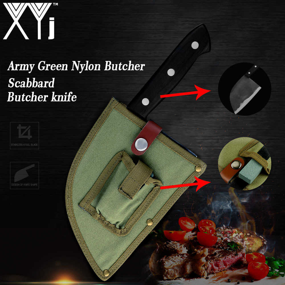 XYj High Carbon Steel Chinese Cleaver Handmade Chopping Butcher Knife With Army Green Nylon Sheath & 7mm Sharpener Whetstone