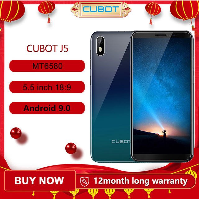 "Cubot J5 Smartphone 5.5"" 18:9 Full Screen MT6580 Quad Core Android 9.0 Telephone 2GB RAM 16GB ROM Phone Dual SIM Card 2800mAh 3G"