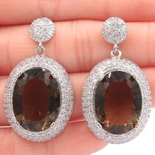 40x22mm Long Big Heavy 20x15mm Oval Smokey Topaz White CZ Womans Gift Silver Earrings
