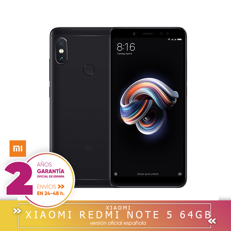 """-Garantía Y Versión Española-Xiaomi Redmi Note 5-Smartphone de 5.9 """"(octa-core 1.8 GHz, 4 GB + 64 GB, Cámara 12 + 5 MP, Android 8.0"""