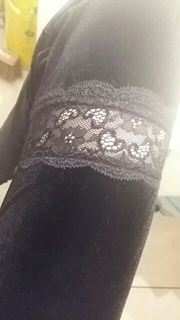 Egirl Gothic Aesthetic Flared Velvet  Pants with Lace photo review