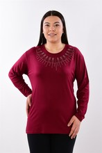Women's Large Size Fronting Stone Burgundy Blouse 416