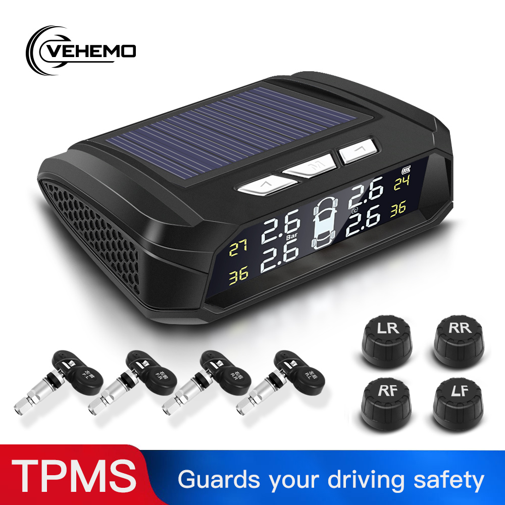 Vehemo Tire Pressure Monitoring System Car Security 5V USB TPMS 4PCS Sensor Real-Time Display LCD Color Screen Tyre Android