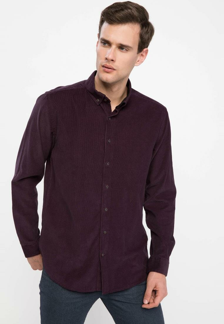 DeFacto Man Dark Purple Cotton Long Sleeve Shirt Men's Casual Turn-down Collar Top Shirts Male Office Top Shirt-I9352AZ18WN