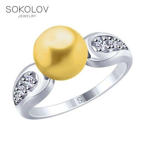 SOKOLOV Ring Of Silver With Pearls And Swarovski Fianitami Fashion Jewelry 925 Women's Male