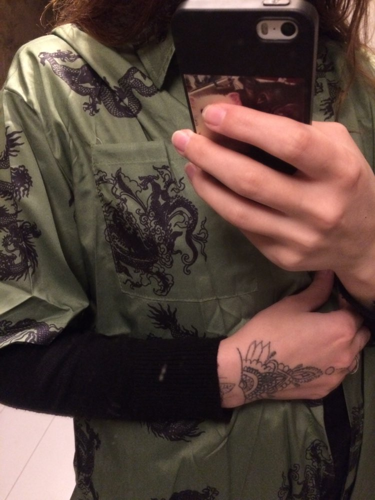 Harajuku Dragon Print Women Shirt Blouse Dark Short Sleeve Turn Down Collar Loose Summer Green Female Shirts Blouses photo review
