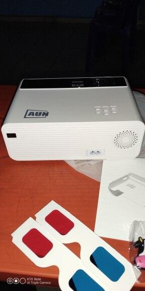 AUN mini projecteur LED D60, résolution 1280x720 P, projecteur vidéo 3D Portable