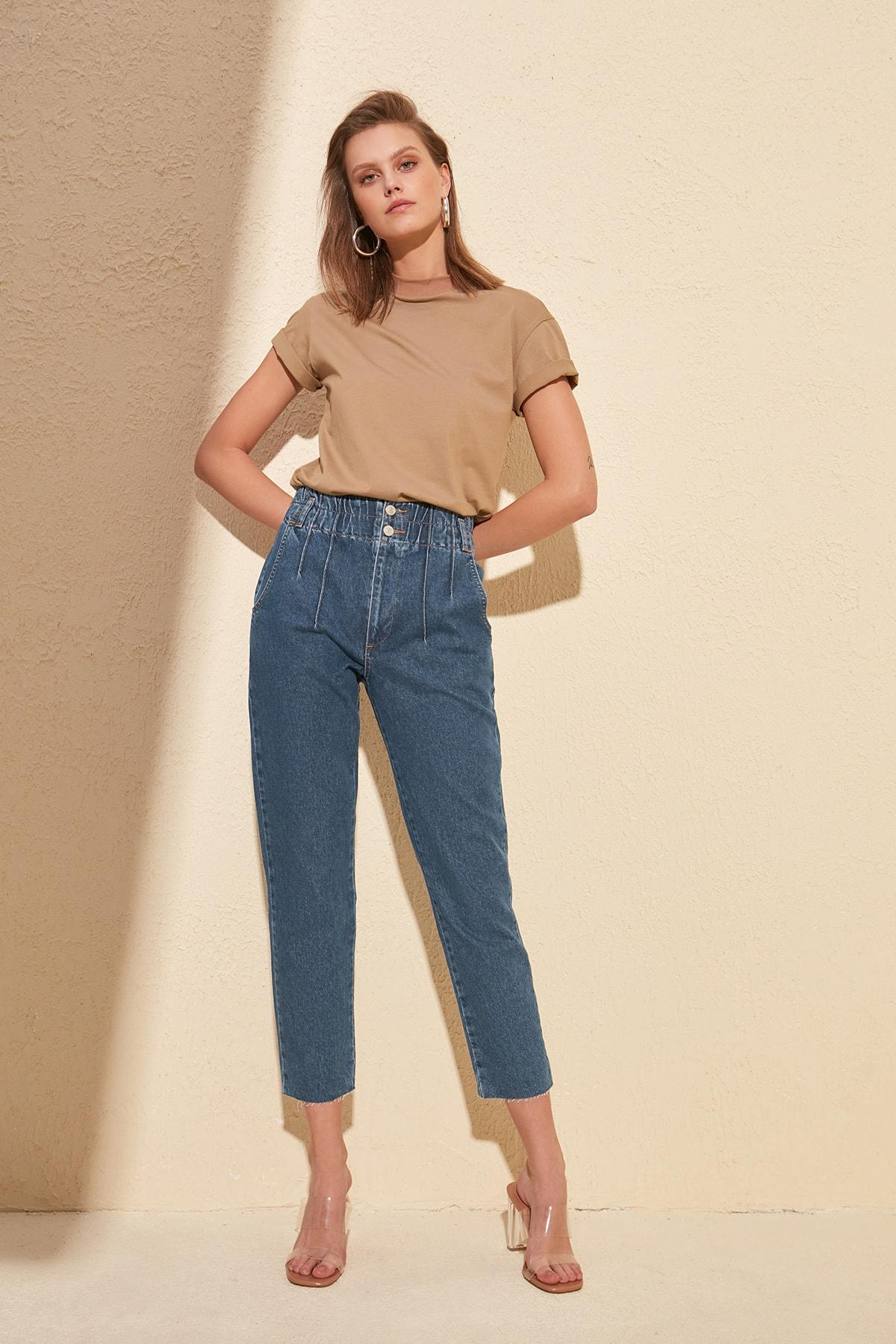 Trendyol Beli Wheel High Bel Mom Jeans TWOSS20JE0067