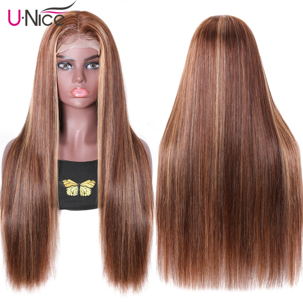 UNice Hair Highlight Wig  Straight  Wigs Piano Honey Blonde Babylights Wig 150% Density 4X1 Lace Part Wig 2