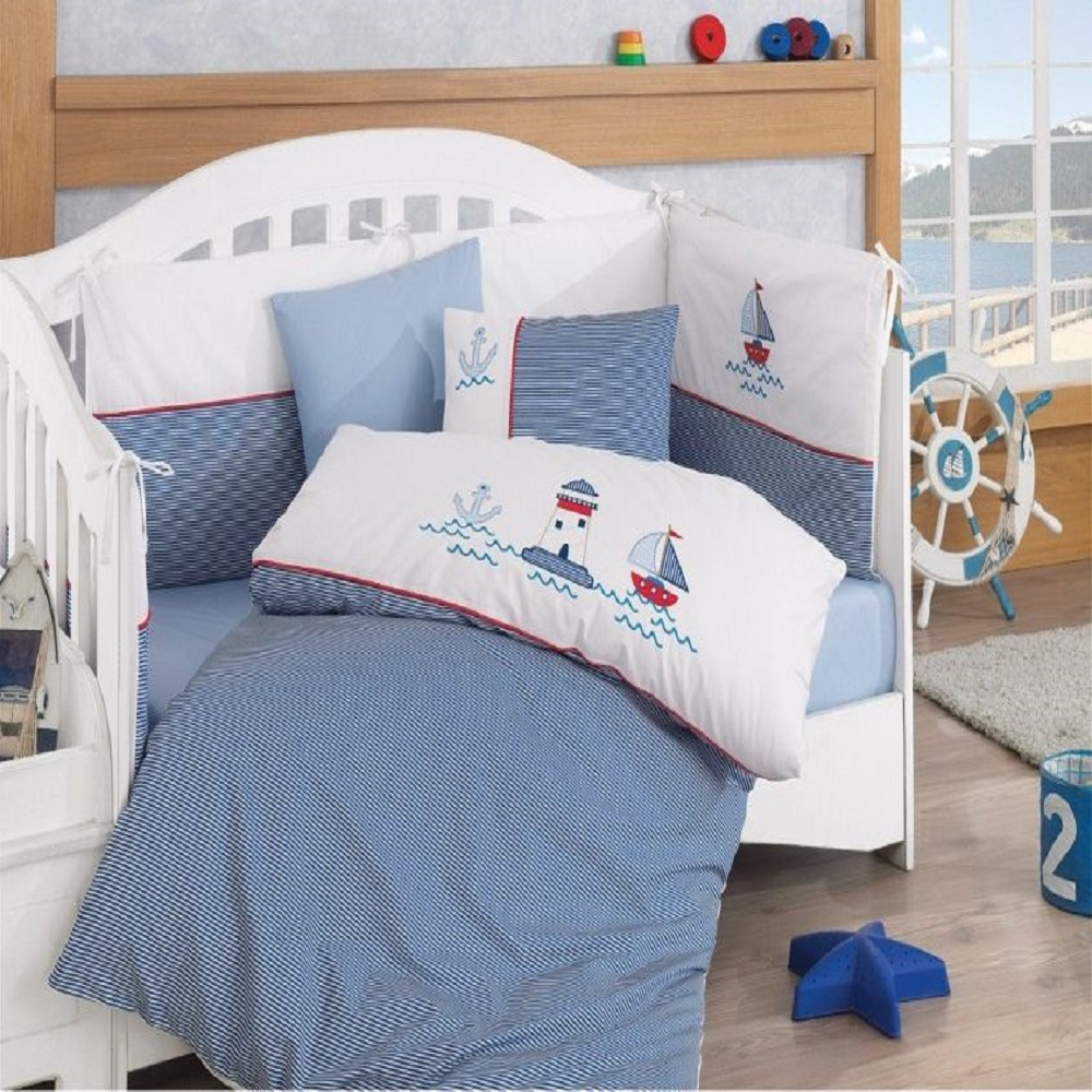 Made In Turkey MARINE Infant Baby Crib Bedding Bumper Set For Boy Girl Nursery Cartoon Animal Baby Cot Cotton Soft Antiallergic
