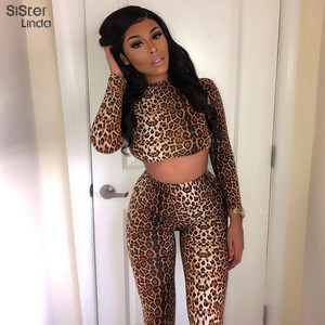 Sisterlinda Sexy Leopard Print Stretch Cropped Top Sport Leggings Two Piece Sets Outfits Sportsuits Tracksuits Active Wear Muje