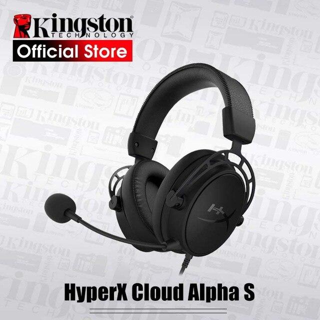 Kingston HyperX Cloud Alpha S سماعة الألعاب 7.1 الصوت المحيطي E سماعة رياضية مع ميكروفون للكمبيوتر و PS4
