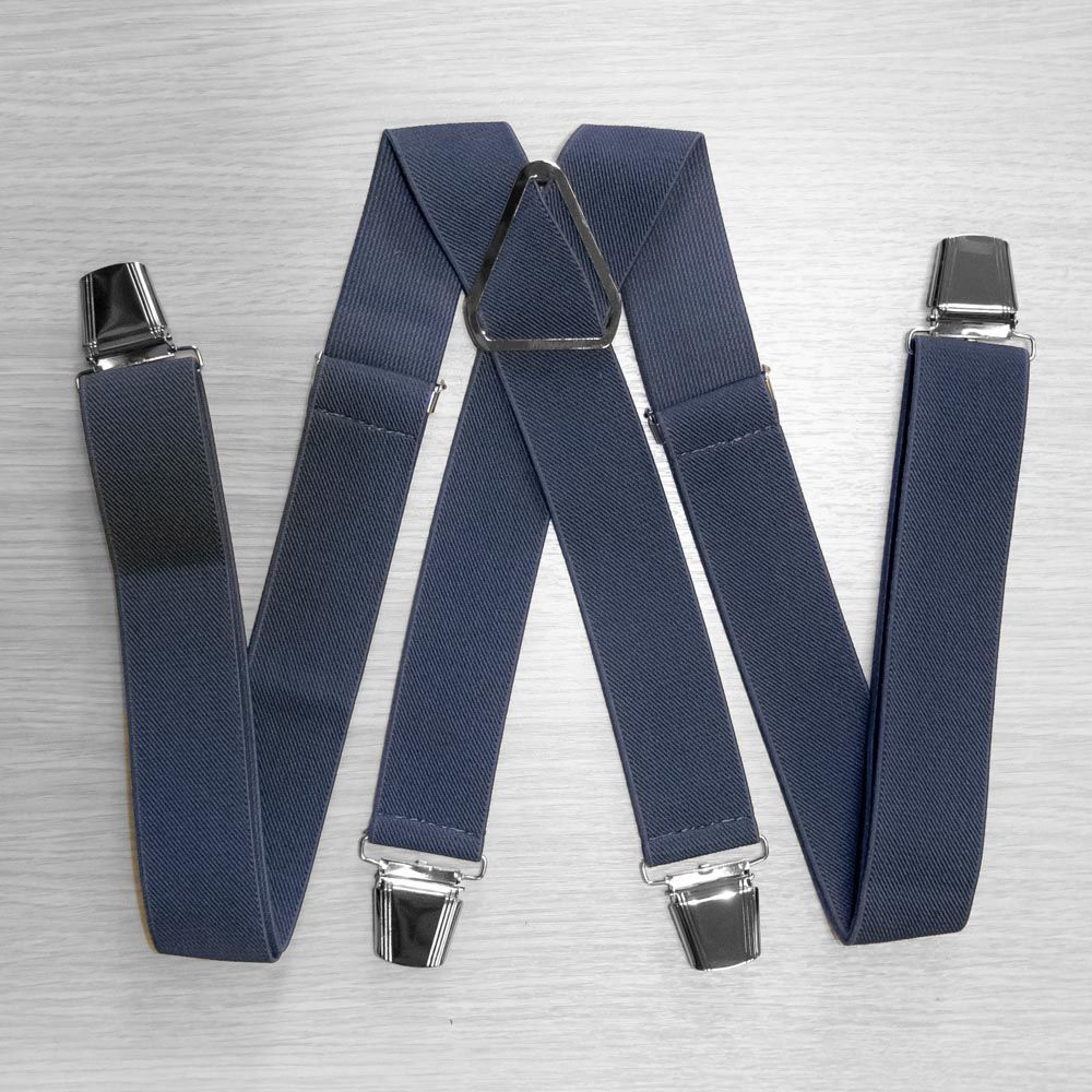 Pants Suspenders With Reinforced Clips (3.5 Cm, 4 Clips, Gray) 54765